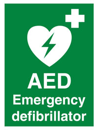 defibrillator available on site logo